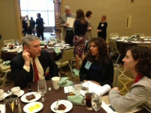 Society Trustee Richard Brake chats with Fellowship Students Sarah Beth Vosburg and Amanda Achtman